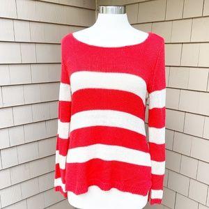 Olive & Oak Red White Striped Sweater Medium